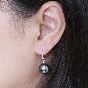 真珠パール 6月誕生石 ピアス ブラックパール タヒチ黒蝶真珠 グリーン系 11mm ダイヤモンド 0.06ct K18WG ホワイトゴールド