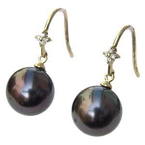 真珠パール 6月誕生石 ピアス タヒチ黒蝶真珠 ブラックパール 直径10mm ダイヤモンド 8石 合計0.06ct K18 ゴールド フックピアス