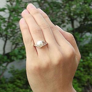 真珠パール リング あこや本真珠 指輪 K10WG ホワイトゴールド 真珠の径9mm ピンクホワイト系 リング 指輪 6月誕生石