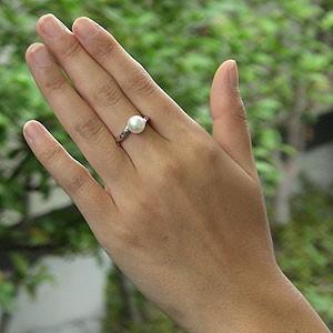 あこや本真珠 リング ダイヤモンド 0.04ct パール ピンクホワイト系 8mm PT プラチナ 900 指輪(アコヤ本真珠)