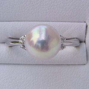 あこや本真珠 リング ダイヤモンド 0.11ct パール ピンクホワイト系 9mm PT プラチナ 900 指輪(アコヤ本真珠)