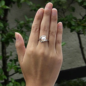 あこや本真珠 リング ダイヤモンド 0.05ct パール ピンクホワイト系 9mm K18WG ホワイトゴールド 指輪(アコヤ本真珠)