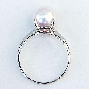 花珠真珠リング パール 真珠指輪 オーロラ花珠あこや真珠 アコヤ 本真珠 パールリング K18ホワイトゴールド 4本爪