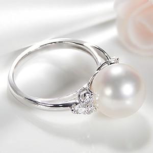 pt900 花珠あこや本真珠 【大珠10mm】ダイヤモンド パール 指輪 PT900 プラチナ フォーマル ダイヤモンド 0.3ct 冠婚 希少 ブライダル