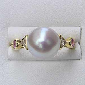 南洋白蝶真珠 リング ダイヤモンド ピンクサファイヤ K18 パール ピンクホワイト系 ラウンド形 指輪