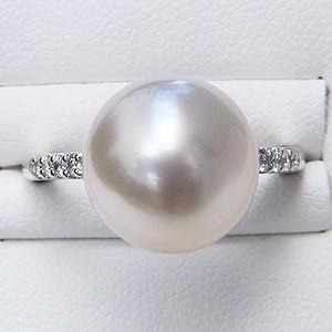 南洋白蝶真珠 ダイヤモンド PT900 プラチナ900 リング ピンクホワイト系 ラウンド形 指輪