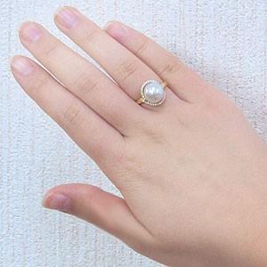 真珠 パール リング 南洋白蝶真珠 10mm K18 ゴールド 18金 真珠 パール 指輪 リング