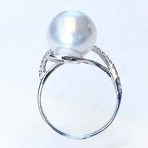 パール リング 真珠 指輪 南洋白蝶真珠 11mm Pt900 プラチナ ダイヤモンド