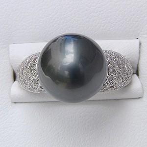 タヒチ黒蝶真珠 ダイヤモンド PT900 プラチナ リング グリーン系 12mm 真珠 パール 指輪 リング