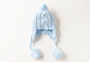 【送料無料】帽子 / ニット帽子 / 手編み耳付き帽子 【48cm〜50cmサイズ】  ER638