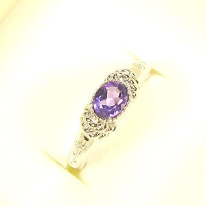 【送料無料】アメジスト・リング・K18・アンティーク・指輪