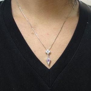 【送料無料】メンズ・ネックレス・9月誕生石・ピンクサファイア・10金・ペンダント