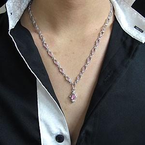 【送料無料】メンズ・ネックレス・百合の紋章・一粒・10月誕生石・ピンクトルマリン・ペンダント・10金