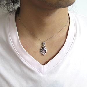 【送料無料】メンズ・ネックレス・一粒・アメジスト・ペンダント・18金・2月誕生石