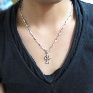 【送料無料】メンズ ネックレス クロス ネックレス シルバー ロイヤルブルームーンストーン ネックレス