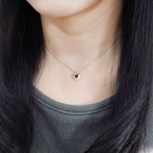 【送料無料】ネックレス ガーネット オープンハート ネックレス プラチナ ネックレス