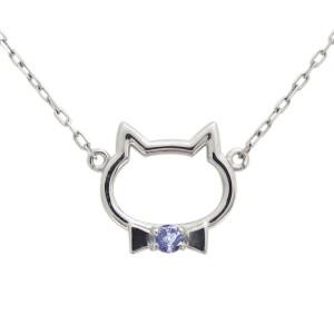 【送料無料】プラチナ タンザナイト ネックレス キャット 猫 ペンダント