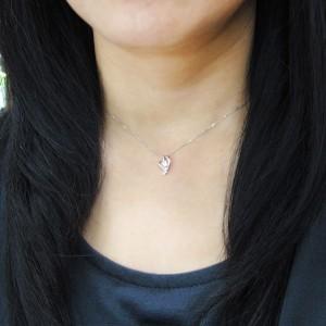 【送料無料】鑑定書付 オープンハートネックレス ダイヤモンド VVSクラス(0.25ct) 18金