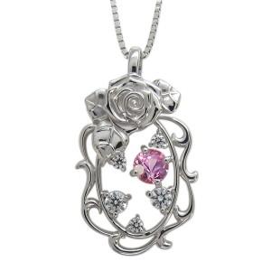 【送料無料】ピンクサファイア ネックレス 薔薇 アラベスク ローズ ペンダント 10金