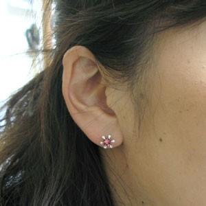 【送料無料】ピンクトルマリン・ピアス・雪の結晶・18金