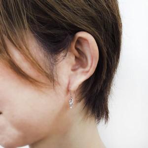 【送料無料】ダイヤモンド キャットピアス 猫 ピアス 10金 フックピアス