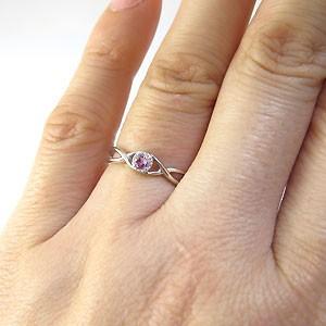 【送料無料】ピンクサファイア・リング・シンプル・一粒・指輪・プラチナ