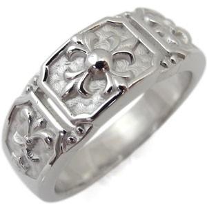 【送料無料】メンズ・リング・百合の紋章・クロス・メンズリング・10金・指輪