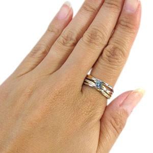 【送料無料】コンビ・リング・18金・プラチナ・一粒・アクアマリンサンタマリア・指輪