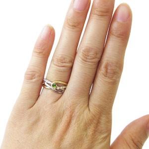 【送料無料】プラチナ・18金・コンビ・リング・一粒・ペリドット・指輪