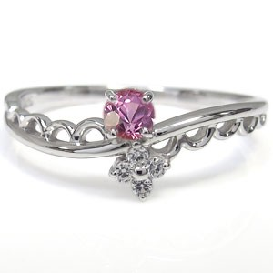 【送料無料】一粒 ピンクサファイア 指輪 ピンクサファイアリング K18 ピンキーリング ファランジリング