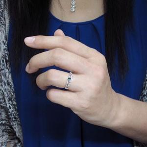 【送料無料】プラチナ 唐草 リング ブルートパーズ 王冠 指輪