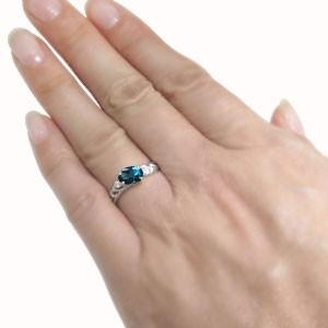 【送料無料】プラチナ・オーバル・唐草・リング・ロンドンブルートパーズ・大粒 指輪