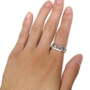 【送料無料】プラチナ ダイヤモンド リング メンズリング 唐草 指輪