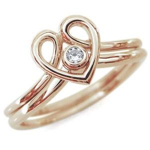 【送料無料】ファランジリング ハート リング K10 指輪 華奢 ダイヤモンド ピンキーリング