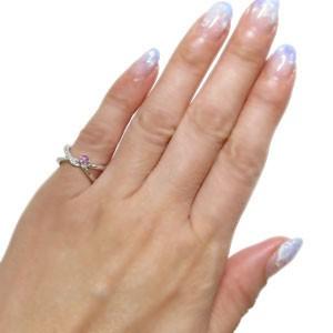 【送料無料】指輪 ピンキーリング プラチナ ピンクサファイア リング V字 リング