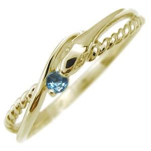 【送料無料】ブルートパーズ 18金 蛇 指輪 スネーク リング