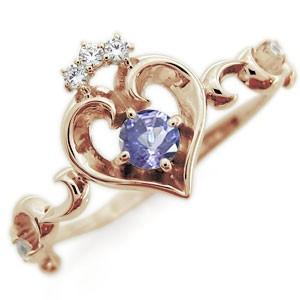 【送料無料】タンザナイト リング ハート アラベスク 18金 華奢 指輪