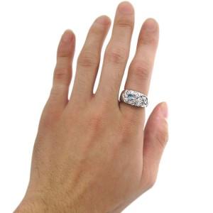 【送料無料】ブルートパーズ スカル バラ リング 骸骨 メンズリング 指輪 18金