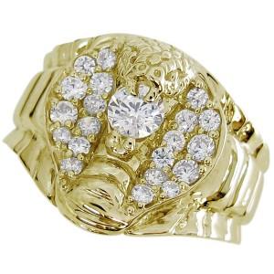 【送料無料】スネーク リング コブラ メンズ ダイヤモンドリング 10金 蛇 指輪