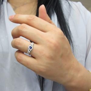 【送料無料】サファイア 取り巻き 指輪 アンティークリング K10