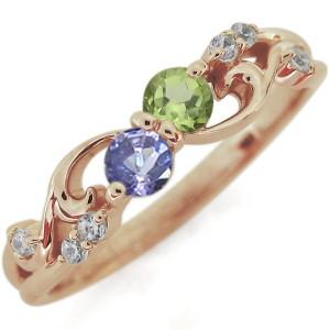 【送料無料】ペリドットリング 唐草 指輪 アラベスク K18 リング