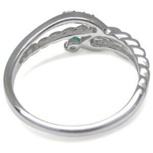 【送料無料】ピンキーリング・エメラルド・スネークリング・指輪・K18