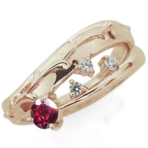 【送料無料】アラベスク 唐草 ルビーリング 指輪 ピンキー ファランジリング K18