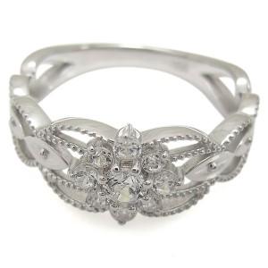 【送料無料】プラチナ 婚約指輪 取り巻きリング ダイヤモンド