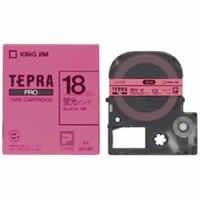 【キングジム テプラPROテープ SK18P(蛍光ピンク/黒文字 18mm幅)】※受け取り日指定不可