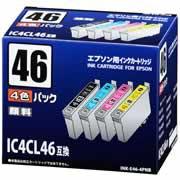 【エプソン用インクカートリッジ IC4CL46互換 顔料4色パック INK-E46-4PNB】