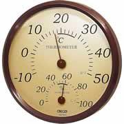 【クレセル 園芸用 温度計・湿度計 壁掛け用 TR-150BR ブラウン】