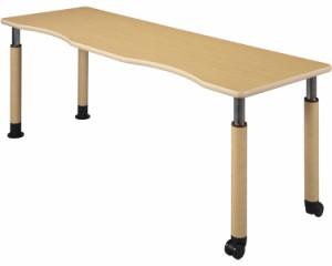 昇降テーブル 2本固定脚+2本キャスター付脚 幅180×奥行60cm/UFT-4T1860R2-4L2 ハイテクウッド 【介護用品】