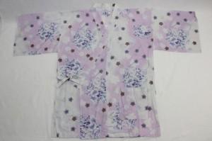 【甚平 女性用(白×薄紫/花)】浴衣生地使用 ビッグサイズ 太い方でも大丈夫 ポッチャリ 3L 4L 大きいサイズ メ