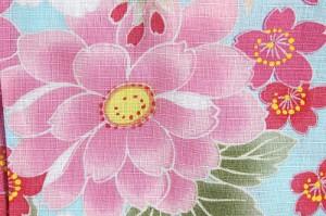 【訳あり/子供甚平】水色×ピンク(花) 100サイズ 3-4才 綿100% 女の子 女児 女物 花火 祭り 夏 普段着 部屋着